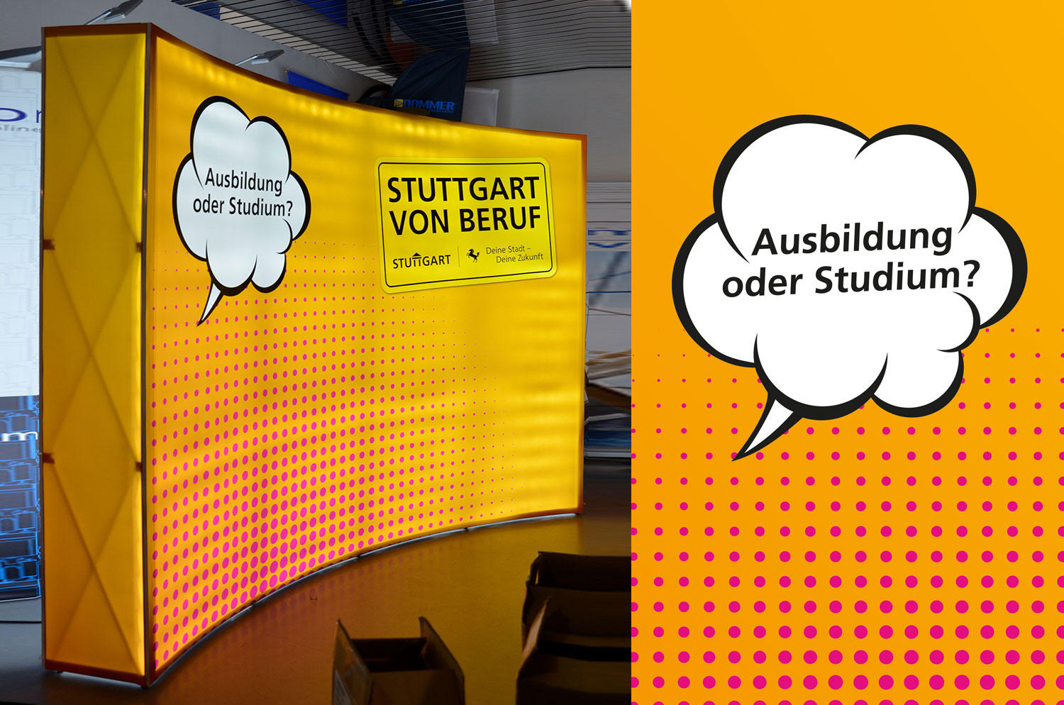 Expo-Curved mobile Messewand mit LED Backlight